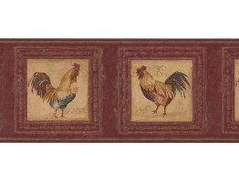 Prepasted Wallpaper Borders - Rooster Wall Paper Border 5261 AU