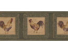 Prepasted Wallpaper Borders - Rooster Wall Paper Border 5263 AU