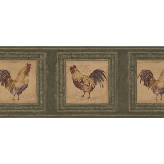 10 in x 15 ft Prepasted Wallpaper Borders - Rooster Wall Paper Border 5263 AU