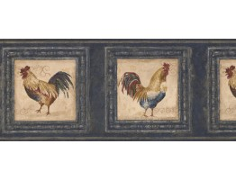 Prepasted Wallpaper Borders - Rooster Wall Paper Border 5264 AU
