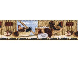 Prepasted Wallpaper Borders - Roosters Wall Paper Border  LBO222B