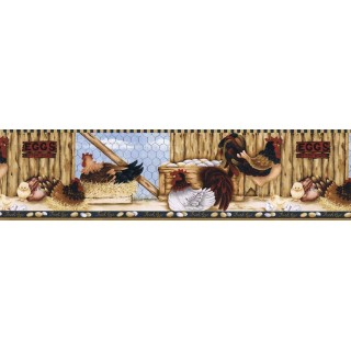 6 7/8 in x 15 ft Prepasted Wallpaper Borders - Roosters Wall Paper Border  LBO222B