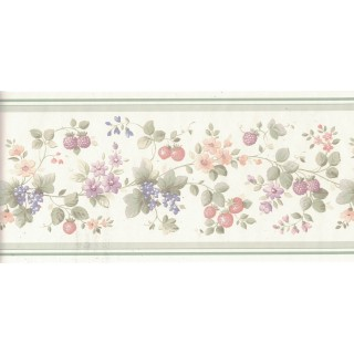 5 1/8 in x 15 ft Prepasted Wallpaper Borders - Flower and Fruits Wall Paper Border B0538