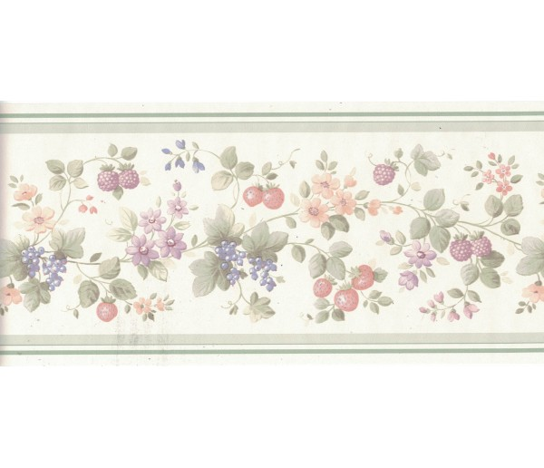 New Arrivals Flower and Fruits Wallpaper Border B0538