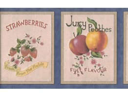 6 7/8 in x 15 ft Prepasted Wallpaper Borders - Fruits Wall Paper Border B0650