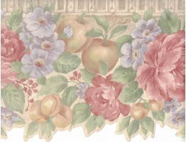 Flower and Fruits Wallpaper Border B0670