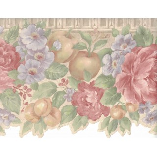 9 1/8 in x 15 ft Prepasted Wallpaper Borders - Flower and Fruits Wall Paper Border B0670