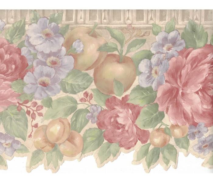 Garden Wallpaper Borders: Flower and Fruits Wallpaper Border B0670