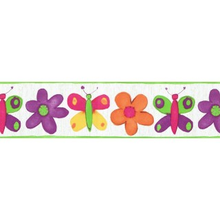 6 7/8 in x 15 ft Prepasted Wallpaper Borders - Butterfly Wall Paper Border CK11025B