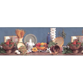 10 1/4 in x 15 ft Prepasted Wallpaper Borders - Kitchen Wall Paper Border B2001BA