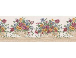 10 1/4 in x 15 ft Prepasted Wallpaper Borders - Floral Wall Paper Border B21513