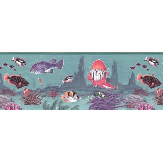 9 in x 15 ft Prepasted Wallpaper Borders - Fish Wall Paper Border B2152TN