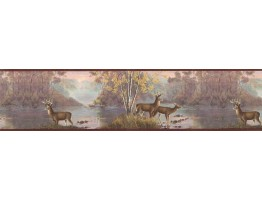 6 7/8 in x 15 ft Prepasted Wallpaper Borders - Deers Wall Paper Border MRL2419