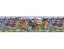 6 1/2 in x 15 ft Prepasted Wallpaper Borders - Horses Wall Paper Border MRL2430