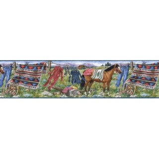 6 1/2 in x 15 ft Prepasted Wallpaper Borders - Horses Wall Paper Border MRL2430