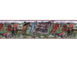 6 1/2 in x 15 ft Prepasted Wallpaper Borders - Horses Wall Paper Border MRL2431