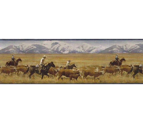 Prepasted Wallpaper Borders - Horses Wall Paper Border MRL2434