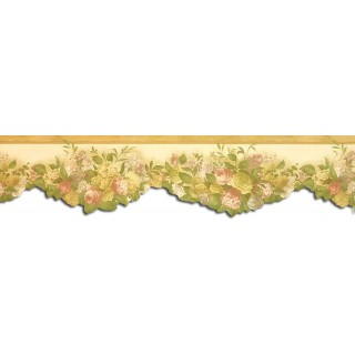 6 1/4 in x 15 ft Prepasted Wallpaper Borders - Floral Wall Paper Border WP30532DC