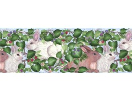 10 1/4 in x 15 ft Prepasted Wallpaper Borders - Rabbits Wall Paper Border B33963
