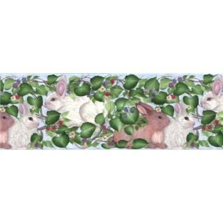 10 1/4 in x 15 ft Prepasted Wallpaper Borders - Rabbits Wall Paper Border B33963