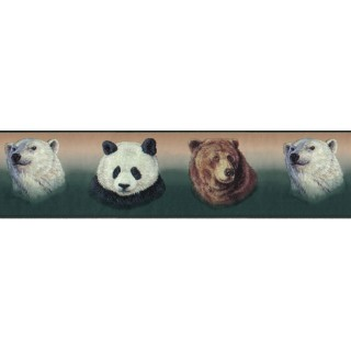 6 7/8 in x 15 ft Prepasted Wallpaper Borders - Animals Wall Paper Border B3413GB