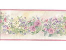 5 1/8 in x 15 ft Prepasted Wallpaper Borders - Flower Wall Paper Border B3567
