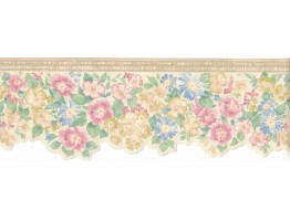 3 3/4 in x 15 ft Prepasted Wallpaper Borders - Flower Wall Paper Border B3572