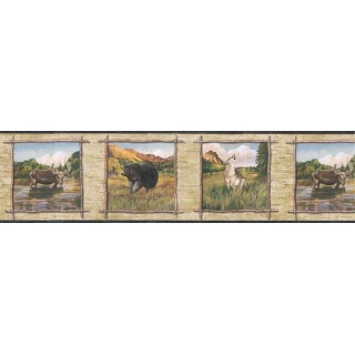 6 7/8 in x 15 ft Prepasted Wallpaper Borders - Animals Wall Paper Border TA39020B