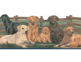 Prepasted Wallpaper Borders - Dogs Wall Paper Border TA39037DB