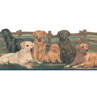 6 11/16 in x 15 ft Prepasted Wallpaper Borders - Dogs Wall Paper Border TA39037DB