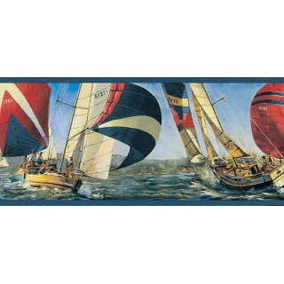 6 5/6 in x 15 ft Prepasted Wallpaper Borders - Ships Wall Paper Border TA39039B