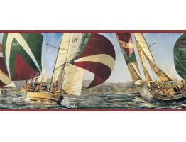 6 5/6 in x 15 ft Prepasted Wallpaper Borders - Ships Wall Paper Border TA39040B