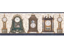 Prepasted Wallpaper Borders - Clocks Wall Paper Border FW4042B