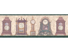 9 in x 15 ft Prepasted Wallpaper Borders - Clocks Wall Paper Border B4043FW