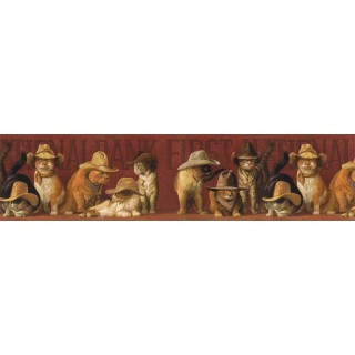 6 7/8 in x 15 ft Prepasted Wallpaper Borders - Cats Wall Paper Border EL49028B