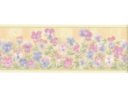 4 in x 15 ft Prepasted Wallpaper Borders - Flower Wall Paper Border B4953