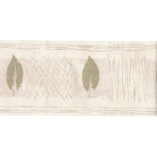 5 1/8 in x 15 ft Prepasted Wallpaper Borders - Leaves Wall Paper Border B49919