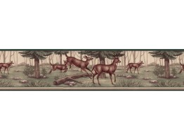 6 3/4 in x 15 ft Prepasted Wallpaper Borders - Deers Wall Paper Border B5134WE