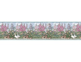 6 7/8 in x 15 ft Prepasted Wallpaper Borders - Garden Wall Paper Border B5236SMB