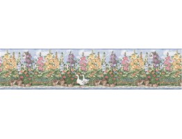 6 7/8 in x 15 ft Prepasted Wallpaper Borders - Garden Wall Paper Border B5237SMB
