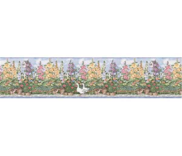 Prepasted Wallpaper Borders - Garden Wall Paper Border B5237SMB
