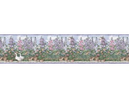 6 7/8 in x 15 ft Prepasted Wallpaper Borders - Garden Wall Paper Border B5238SMB