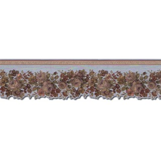 4 3/4 in x 15 ft Prepasted Wallpaper Borders - Roses Wall Paper Border 65100DC