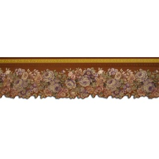 4 3/4 in x 15 ft Prepasted Wallpaper Borders - Floral Wall Paper Border 65102DC