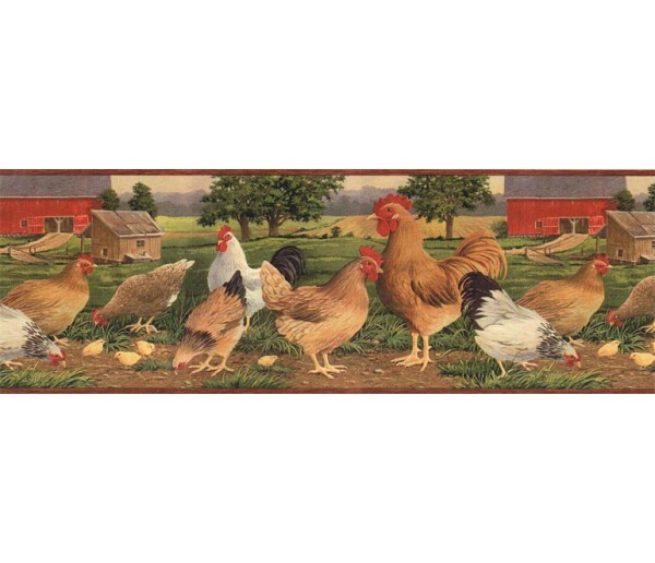 Prepasted Wallpaper Borders - Roosters Wall Paper Border AFR7106