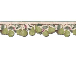 Prepasted Wallpaper Borders - Pear Fruits Wall Paper Border B71346