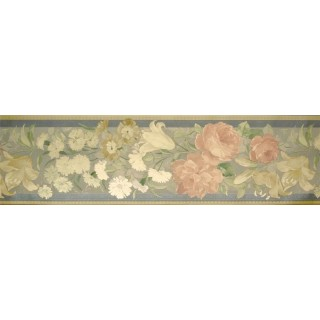 6 7/8 in x 15 ft Prepasted Wallpaper Borders - Roses Wall Paper Border 72793