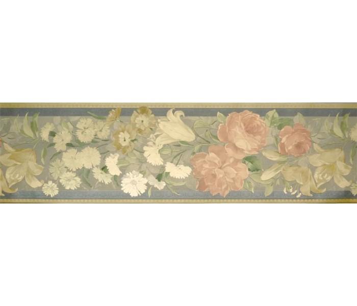Floral Wallpaper Borders: Roses Wallpaper Border 72793