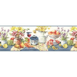 9 in x 15 ft Prepasted Wallpaper Borders - Fruits and Flower Wall Paper Border B73451