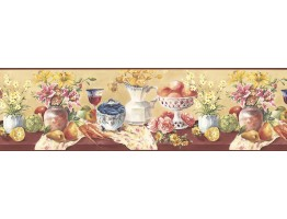Prepasted Wallpaper Borders - Fruits and Flowers Wall Paper Border KB73452